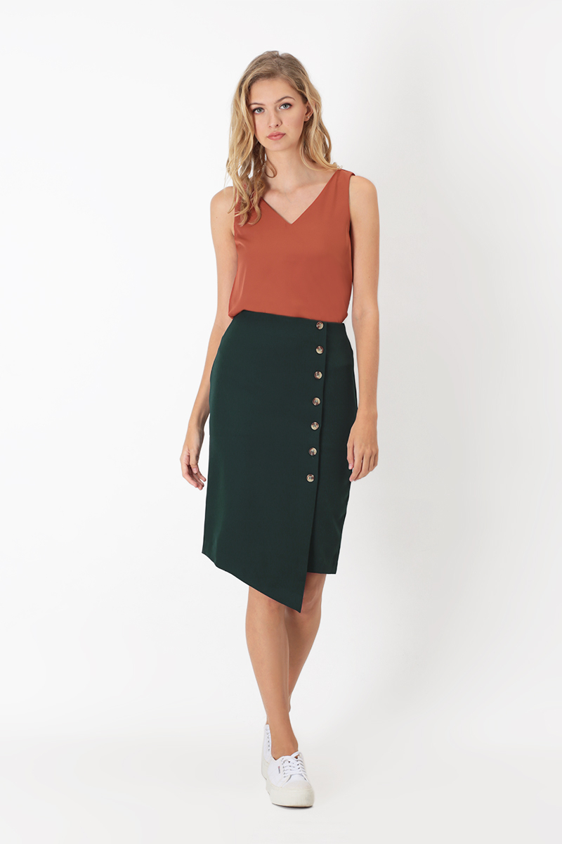 1d89c4284e LEONA BUTTON PENCIL SKIRT IN FOREST