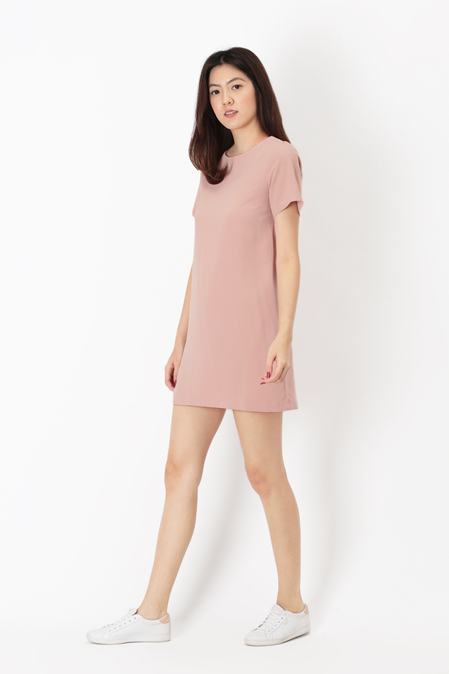 ADDIE TEE DRESS IN DUSTY PINK