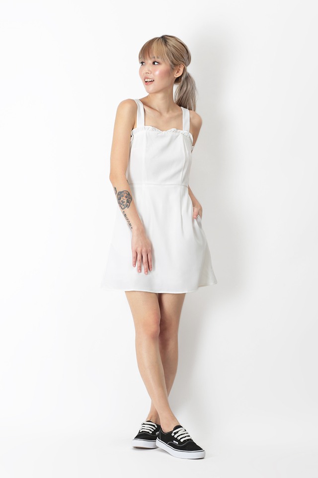 BECCA FRILL ROMPER DRESS IN WHITE