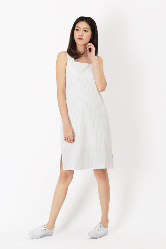 BRIANNA STRIPED MIDI DRESS IN WHITE