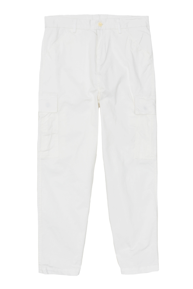 DISTRESSED CARGO TROUSERS IN WHITE