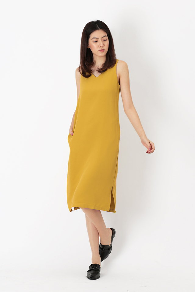 ELENA V-NECK MIDI DRESS IN MUSTARD