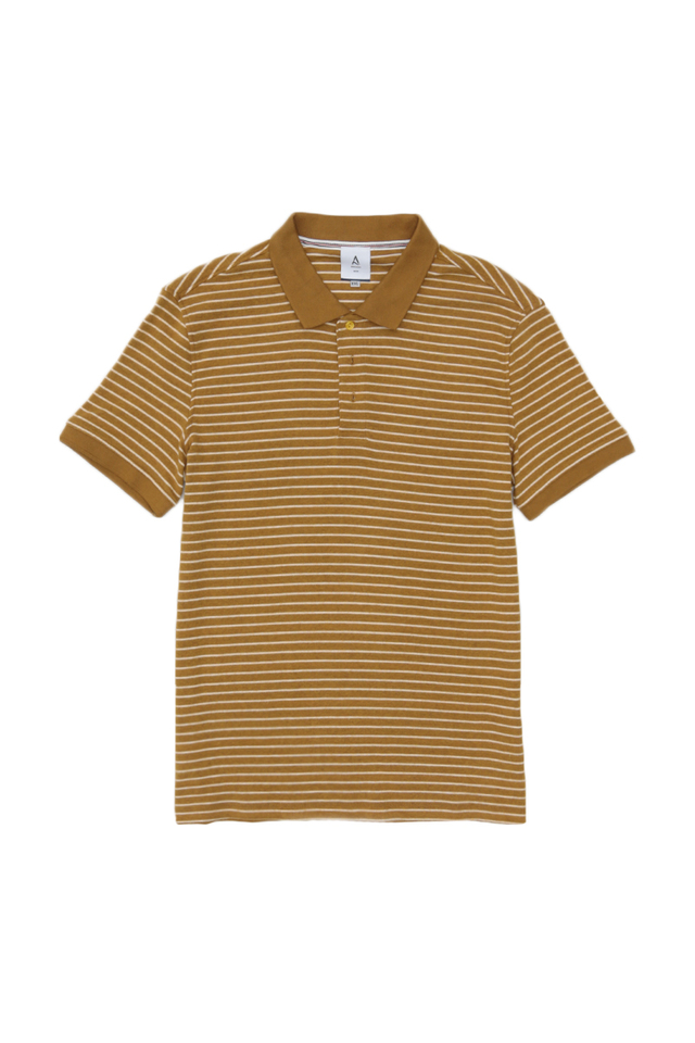 JERSEY STRIPE POLO SHIRT IN CAMEL