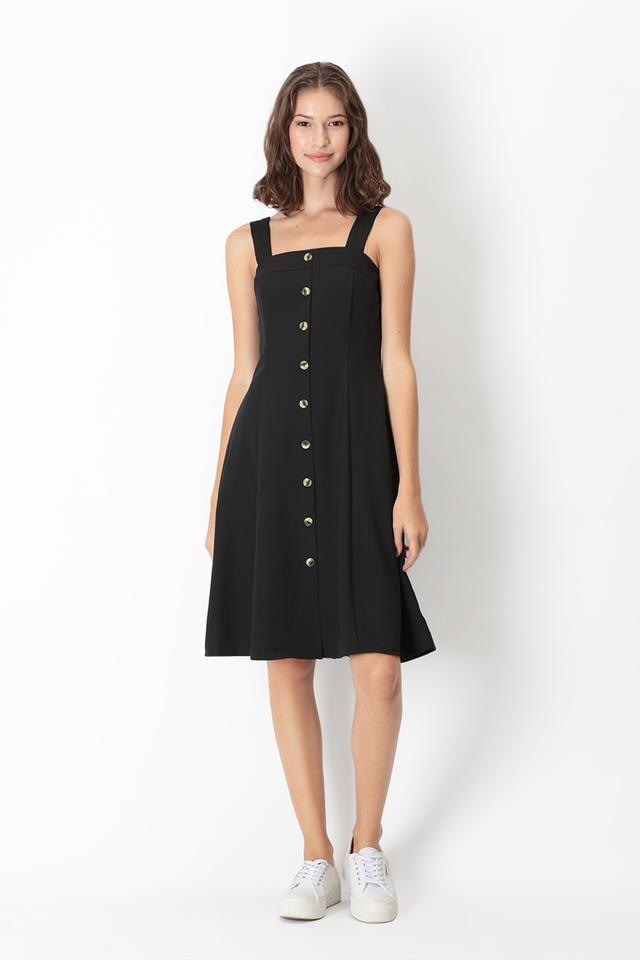 LINETTE BUTTON DRESS IN BLACK