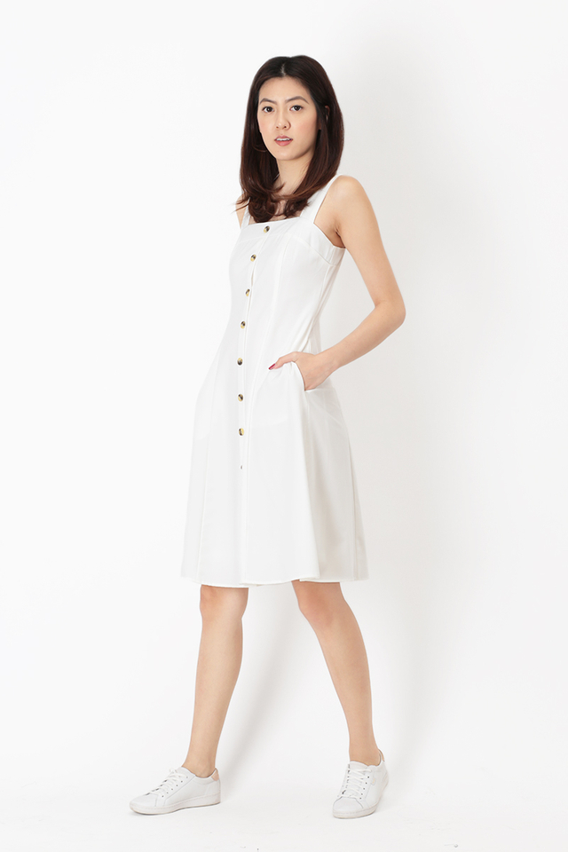 LINETTE BUTTON DRESS IN WHITE