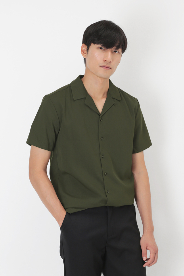 THEO SLIM-FIT CAMP COLLAR SHIRT IN OLIVE