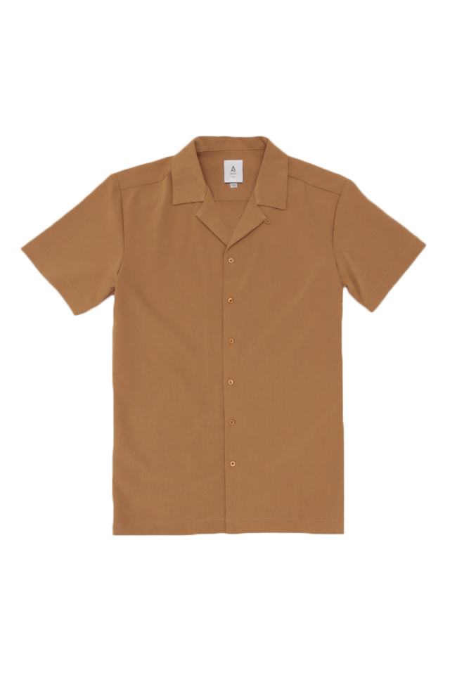 THEO SLIM-FIT CAMP COLLAR SHIRT IN CAMEL