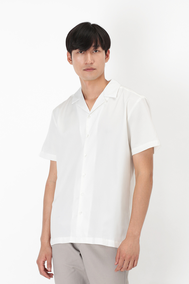 THEO SLIM-FIT CAMP COLLAR SHIRT IN WHITE