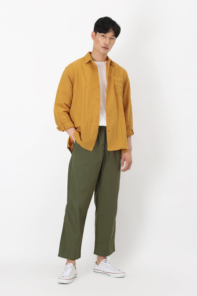 WIDE-LEG LOOSE-FIT TROUSERS IN OLIVE