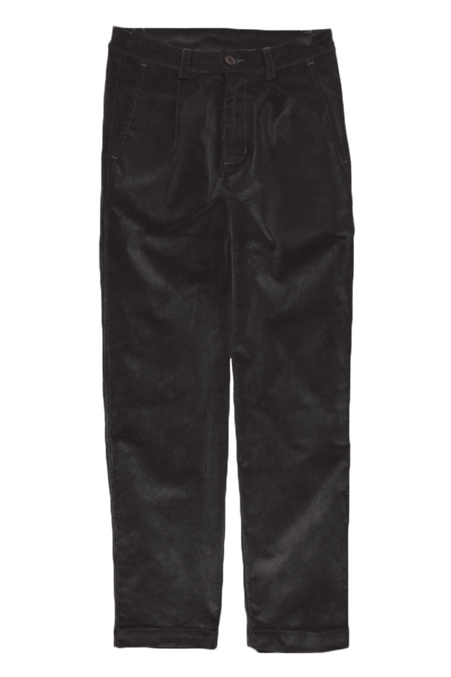 ALFIE WIDE-FIT CORDUROY TROUSERS IN CHARCOAL
