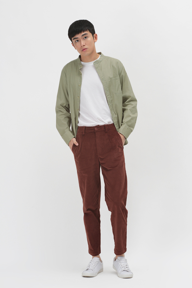 ALFIE WIDE-FIT CORDUROY TROUSERS IN RUSSET