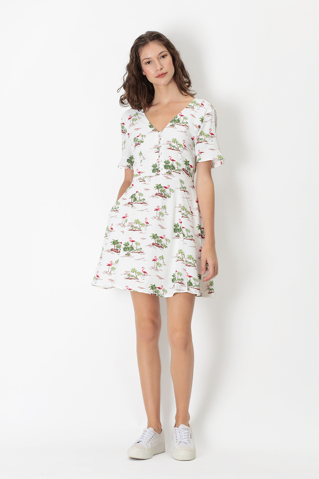CHERIE TROPICAL SWING DRESS IN WHITE