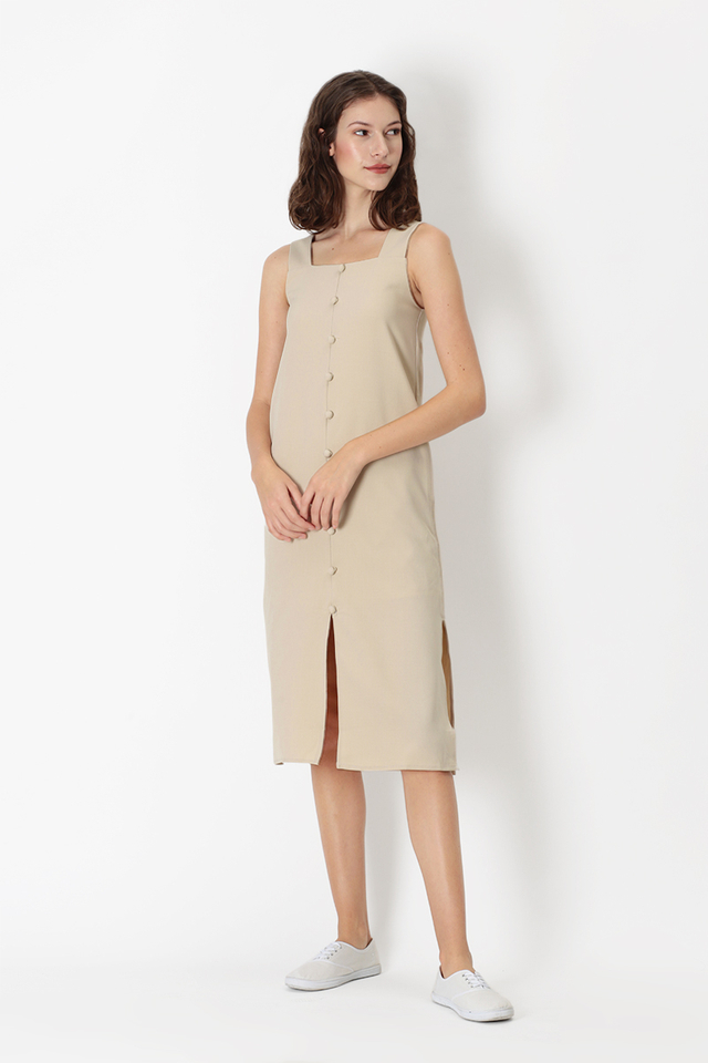 DELILAH BUTTON MIDI DRESS IN CREME