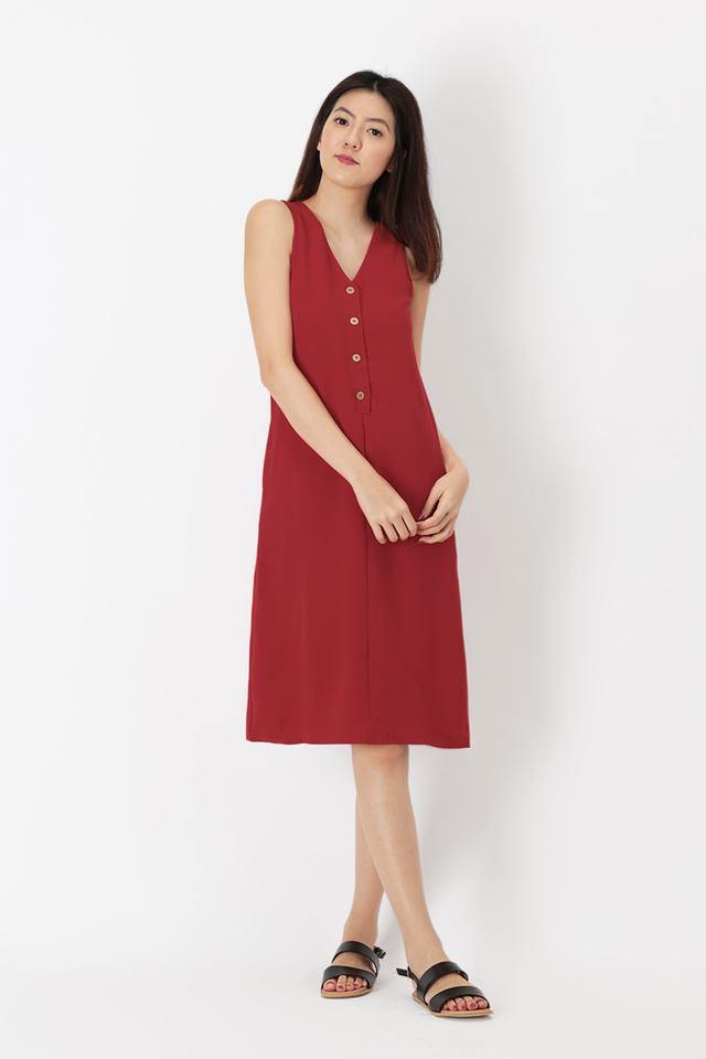 HANNAH BUTTON TANK DRESS IN AURORA RED