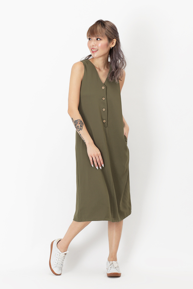 HANNAH BUTTON TANK DRESS IN MOSS GREEN