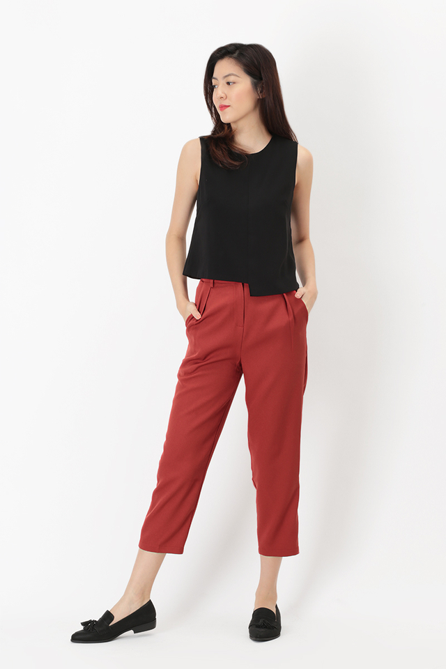 LUCKY STRIKE CIGARETTE TROUSERS IN AURORA RED