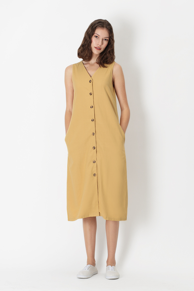 NIKI V-NECK BUTTON DRESS IN PRIMROSE YELLOW