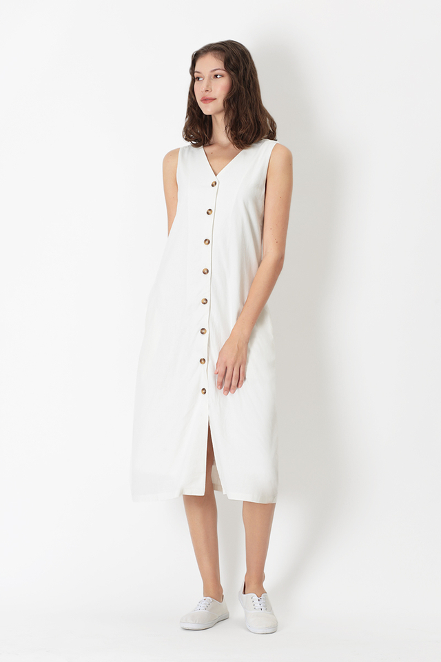 NIKI V-NECK BUTTON DRESS IN WHITE
