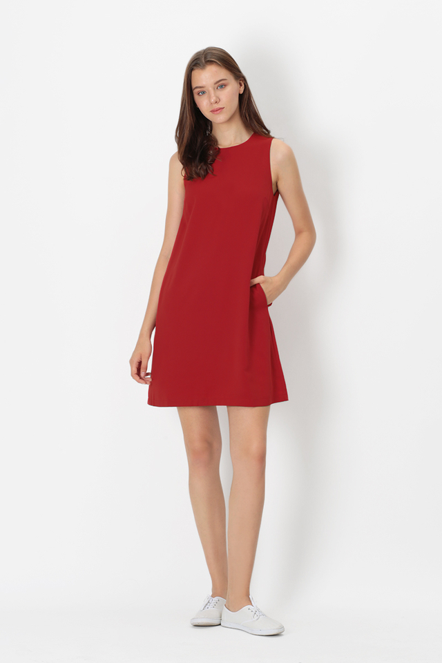 PAULA TANK DRESS IN AURORA RED