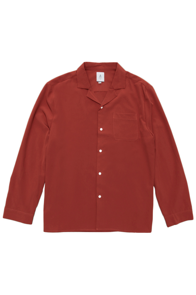 WESLEY LONG SLEEVE CAMP COLLAR SHIRT IN RUST