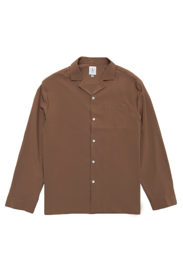 WESLEY LONG SLEEVE CAMP COLLAR SHIRT IN MOCHA