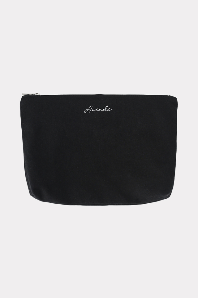 ARCADE SCRIPT LOGO CANVAS POUCH IN BLACK