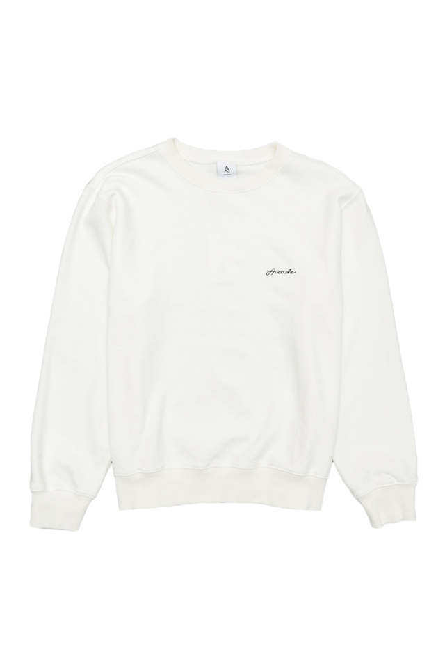 ARCADE SCRIPT LOGO SWEATER IN WHITE