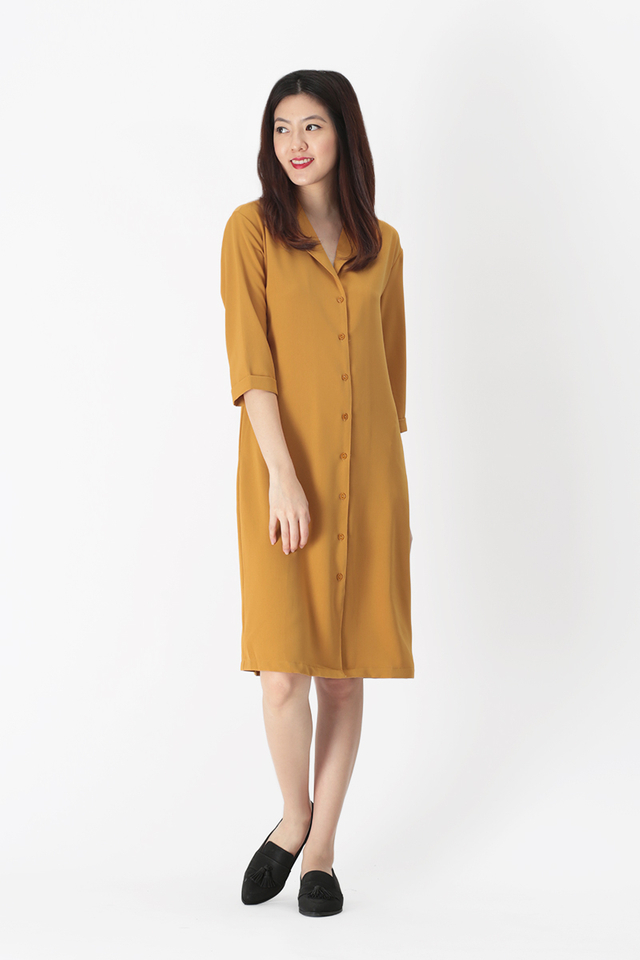 ASHLEIGH CAMP COLLAR SHIRT DRESS IN MUSTARD