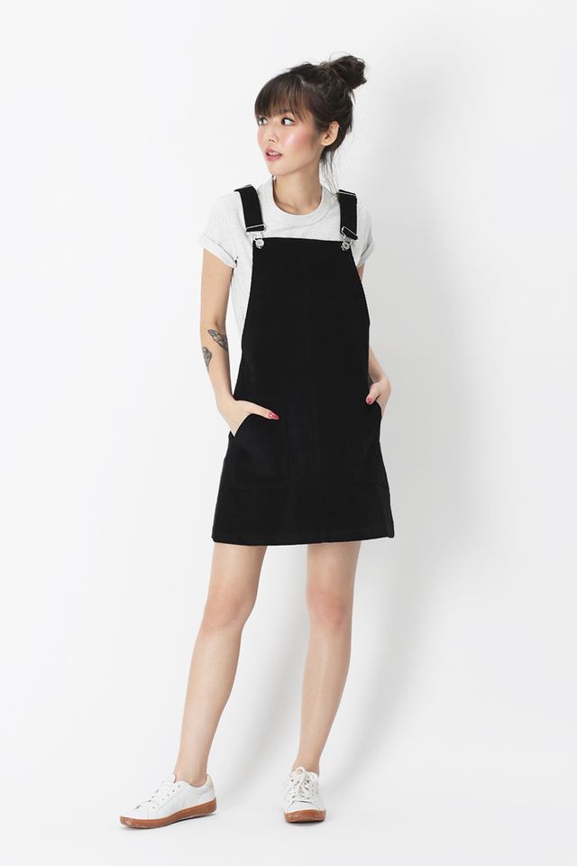 CROSS MY HEART CORDUROY DUNGAREE IN BLACK