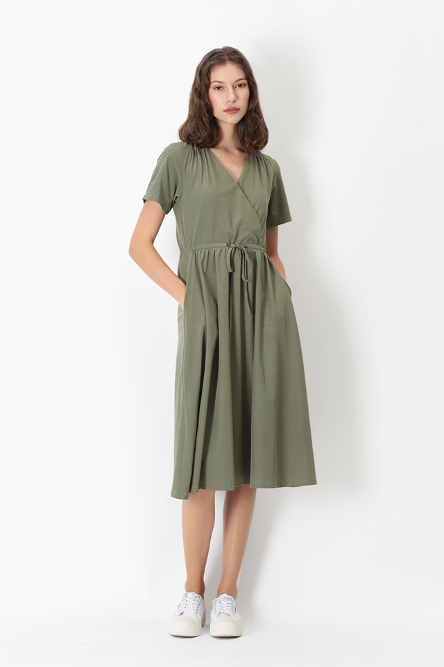 ELYSE MIDI DRESS IN SAGE
