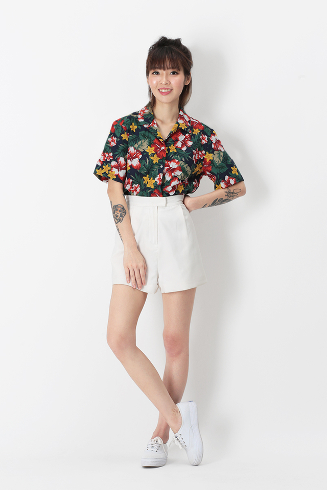 LOCO LOCO TROPICAL CAMP COLLAR SHIRT IN NAVY