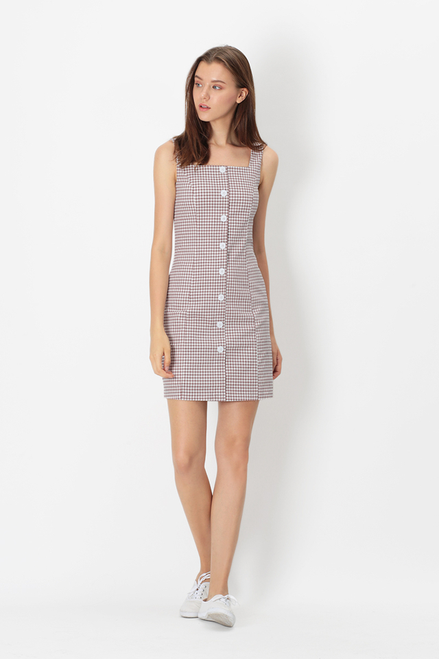 MONIQUE GINGHAM BUTTON DRESS IN PINK