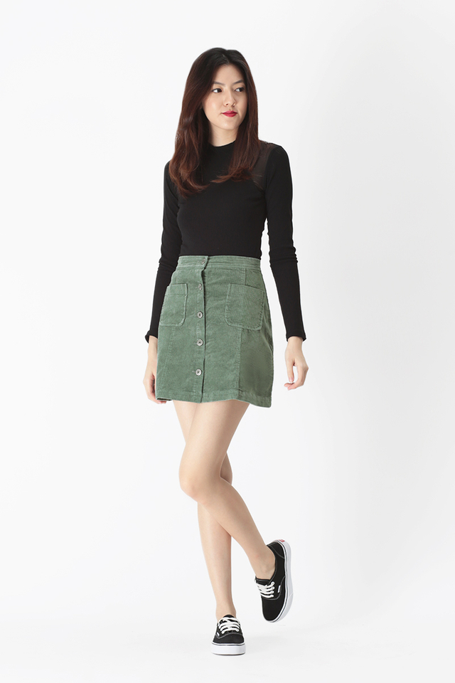 STACIE CORDUROY PATCH POCKET SKIRT IN SAGE