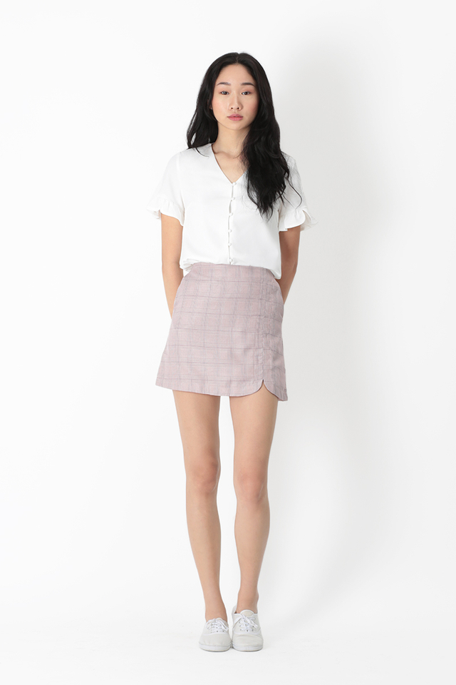 COREY PLAID SKORTS IN BLUSH