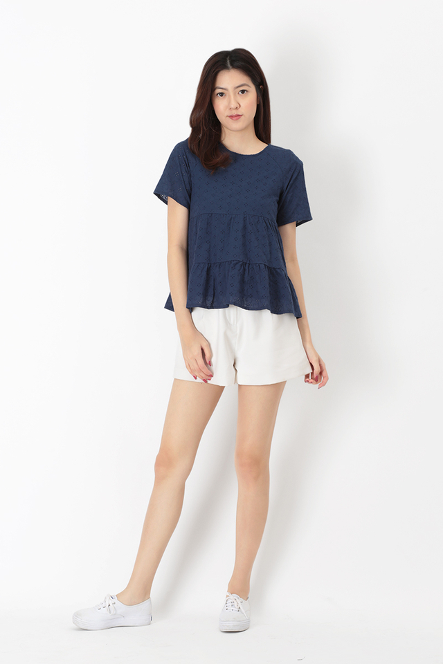 DANIELLE EYELET TIER TOP IN NAVY