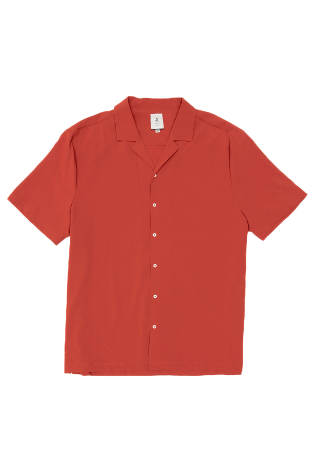 FREDDIE CAMP COLLAR SHIRT IN RUST
