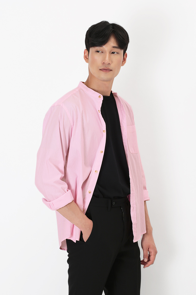 LENNON BAND COLLAR SHIRT IN PINK
