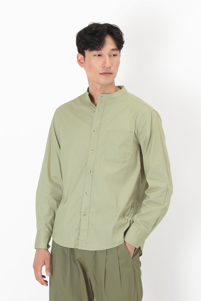 LENNON BAND COLLAR SHIRT IN SAGE