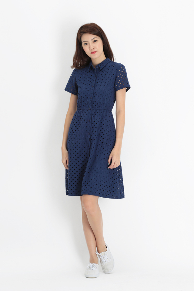 LIZZIE EYELET BUTTON DRESS IN NAVY
