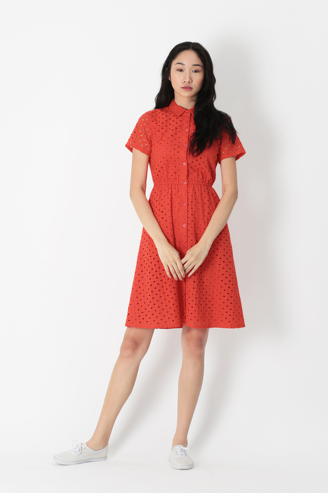 LIZZIE EYELET BUTTON DRESS IN VERMILION