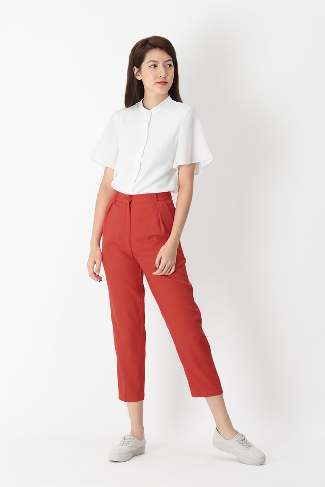 LUCKY STRIKE CIGARETTE TROUSERS IN VERMILION