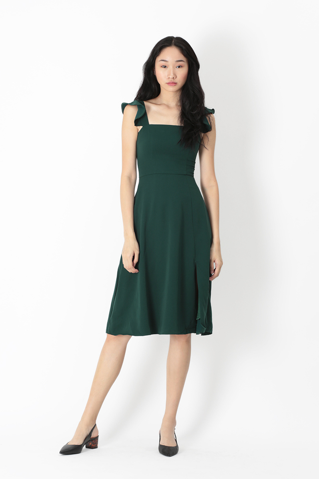 MADELINE FLUTTER SLEEVE DRESS IN FOREST