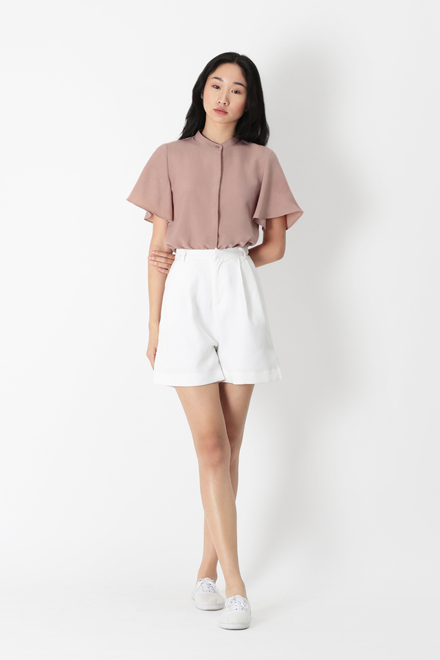 MILLIE FLARE SLEEVE BUTTON BLOUSE IN FRENCH PINK