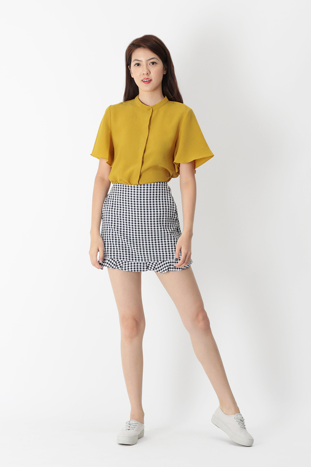 MILLIE FLARE SLEEVE BUTTON BLOUSE IN MUSTARD
