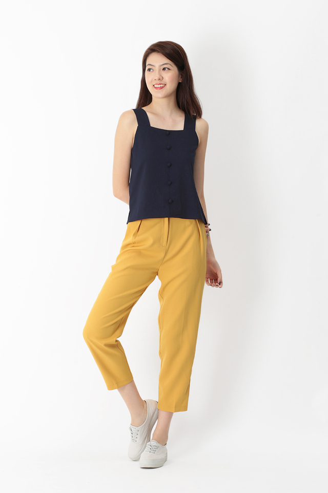 SKYLAR SQUARE NECK BUTTON TOP IN NAVY