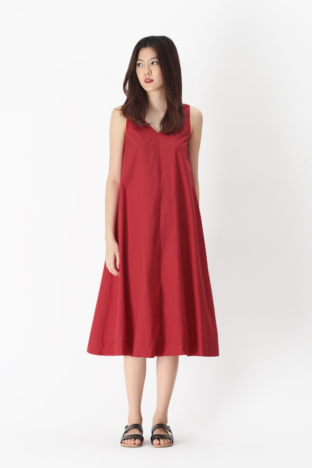 WILLOW V-NECK FLARE DRESS IN AURORA RED
