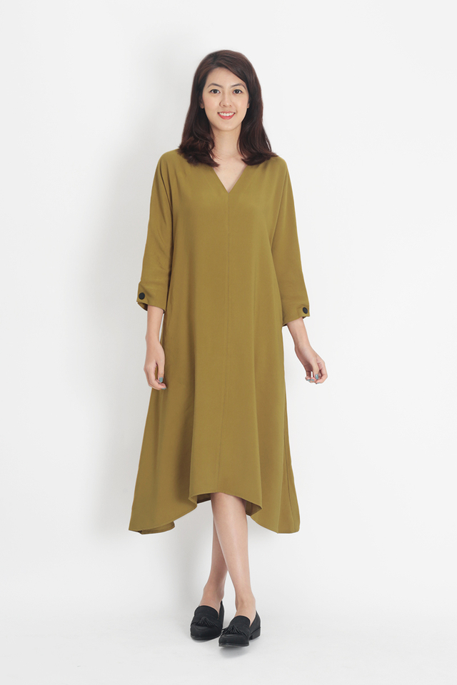 ALESSANDRA V-NECK PILGRIM DRESS IN OCHRE