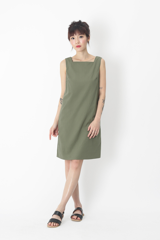 CARLA SQUARE NECK LINEN DRESS IN SAGE