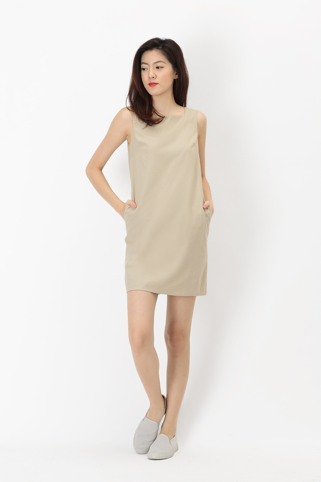 CARLA SQUARE NECK LINEN DRESS IN SAND