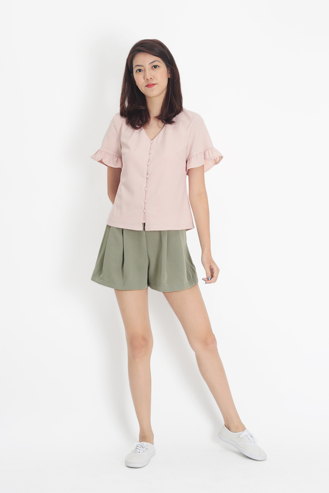 HAYLEY FRILL SLEEVE TOP IN FRENCH PINK